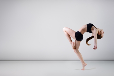 dancer - young beautiful teen girl dancing at studio, series photo