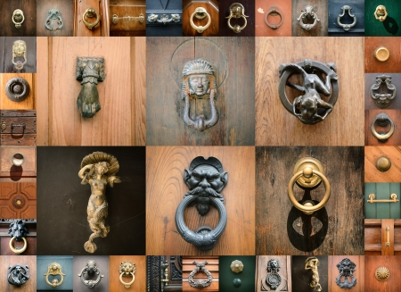 doorknobs of ancient doors in Rome, collection of beautiful vintage architectural details photo