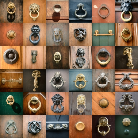 demoniacal: doorknobs of ancient doors in Rome, collection of beautiful vintage architectural details Stock Photo