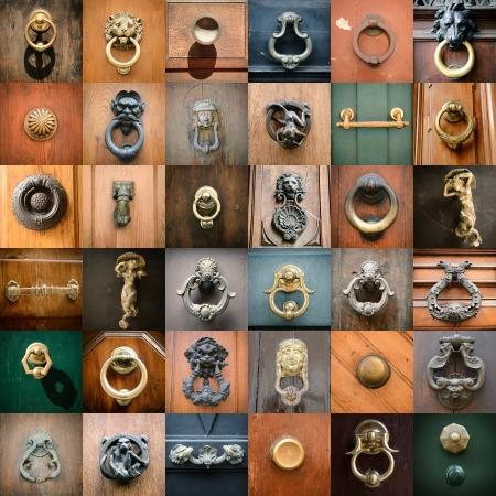 wood carving door: doorknobs of ancient doors in Rome, collection of beautiful vintage architectural details Stock Photo