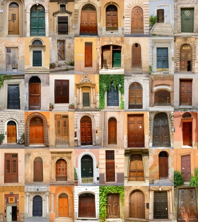 doors in Italy, collection of different beautiful ancient door in italian cities, architectural details photo