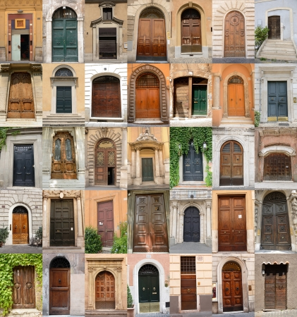 doors in Rome, collection of different beautiful ancient door in eternal city photo
