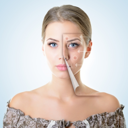 anti wrinkles: portrait of beautiful woman with problem and clean skin, aging and youth concept, beauty treatment