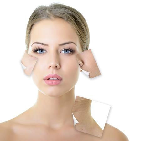 problema: Retrato de una hermosa mujer con un problema y el concepto limpia la piel, el envejecimiento y la juventud, tratamientos de belleza