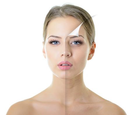 portret van mooie vrouw met een probleem en schone huid, veroudering en begrip jeugd, schoonheid behandeling Stockfoto