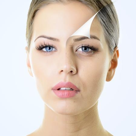 gezichtsbehandeling: anti-aging concept portret van mooie vrouw met een probleem en schone huid, veroudering en jeugdconcept, schoonheidsbehandeling
