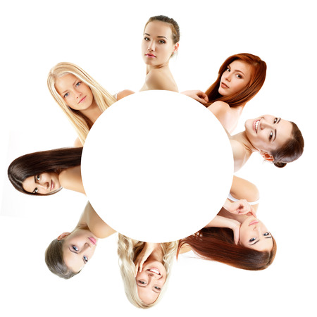 Group of beautiful girls, faces closeup over white photo