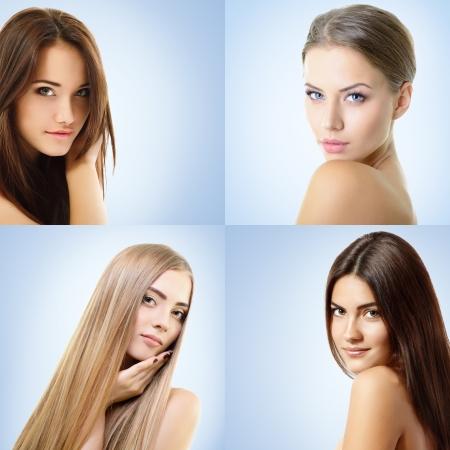 Beautiful girls, faces closeup photo