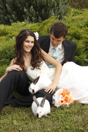 wedding, beautiful young bride with groom in love with two rabbits, park summer outdoor photo