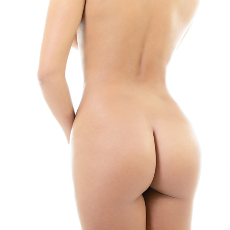 Back view of beautiful young woman with perfect body, isolated on white background  Stock Photo