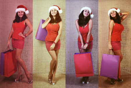 Holiday portrait set of cheerful christmas woman in santa's hat smiling and holding shopping bags over canvas background, toned photo