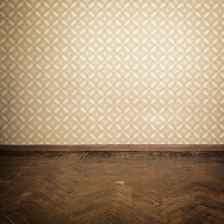 interior wallpaper: Vintage room, empty retro apartment with old fashioned wallpaper and weathered wooden parquet floor, toned