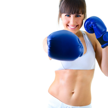 sport young woman boxing gloves, face of fitness girl studio shot over white background photo
