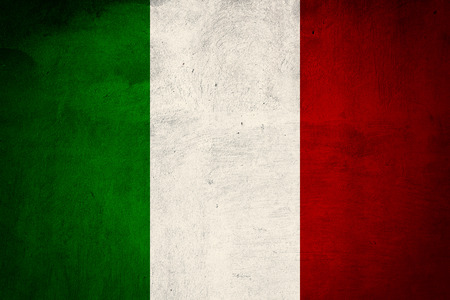 antiqued: Italian flag printed on grunge concrete wall, national italian background, toned