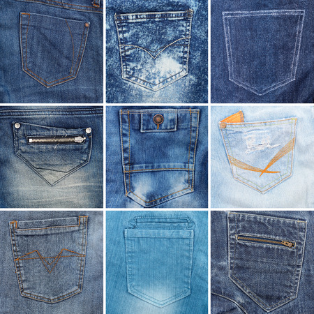 cloth back: collection of different jeans pocket
