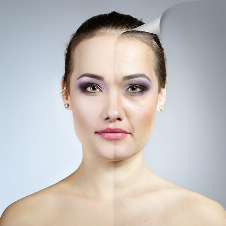 アンチエイジング概念。問題ときれいな肌と美しい女性の肖像画。高齢化と若者の概念、美容トリートメント。