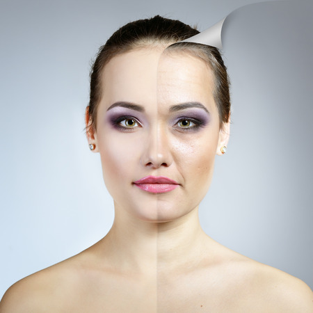 Anti-aging concept. Portrait of beautiful woman with problem and clean skin. Aging and youth concept, beauty treatment. Stock fotó