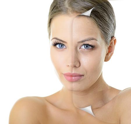 Vieillissement et le concept de la jeunesse, soins de beauté, beau portrait de femme avec le problème et la peau propre sur blanc