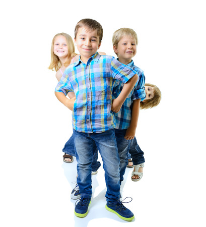 Happy smiling children friends have fun together, on a white background