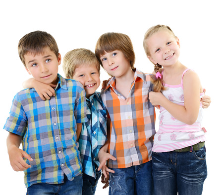 children playing together: Kids play and have fun together. Children playing over white background Stock Photo