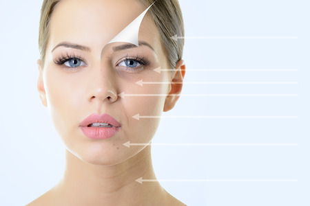 anti-aging concept, portrait of beautiful woman with problem and clean skin, aging and youth concept, beauty treatment  photo