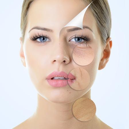 aged: concetto di anti-invecchiamento, ritratto di bella donna con problemi e la pelle pulita, l'invecchiamento e il concetto di giovinezza, trattamenti di bellezza