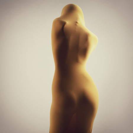perfect sexy female body in yellow fabric, back view, image toned photo