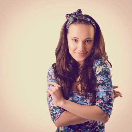ladylike: fashion girl, beautiful young woman posing at studio, toned Stock Photo
