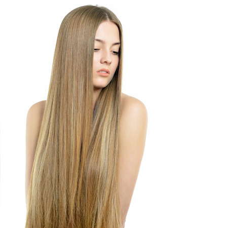 straight hair: Hair. Beautiful woman with long healthy shiny smooth hair. Attractive blond girl posing over white background. Gorgeous Hair. Hair care.