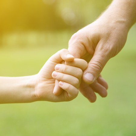 Family, father and child son hands over green summer nature outdoor. Trust and help concept. Toned. Stock Photo