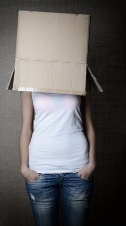 featureless: faceless girl with box on her head, toned