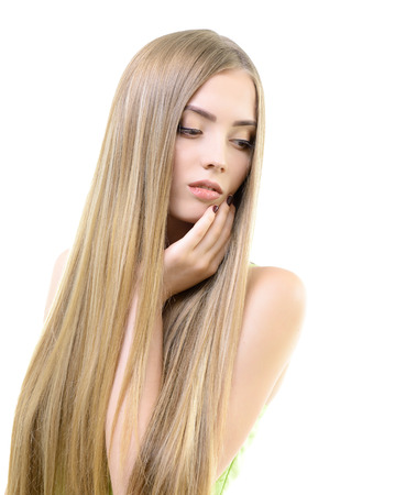 Hair. Beautiful bond girl with healthy long hair. Haicare and hairstyle. 스톡 콘텐츠