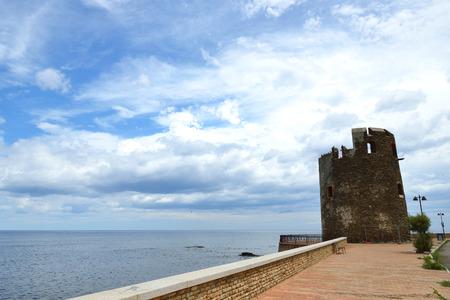 tyrrhenian: Picturesque coast of the Tyrrhenian Sea, Sardinia, Italy. Medieval fortress. Stock Photo