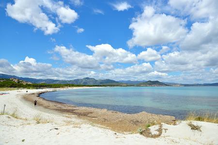 littoral: Beach. Picturesque coast of the Tyrrhenian Sea, Sardinia, Italy. Travel. Vacation.