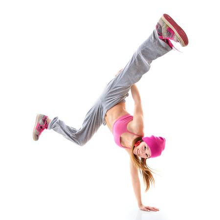 白い背景の上の十代の少女ヒップホップ ダンサー