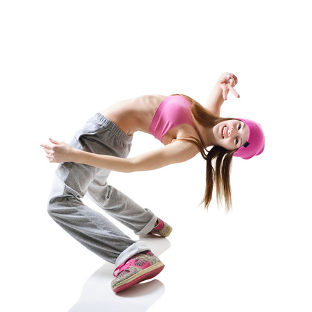 hip hop style: Teen girl hip-hop dancer over white background Stock Photo