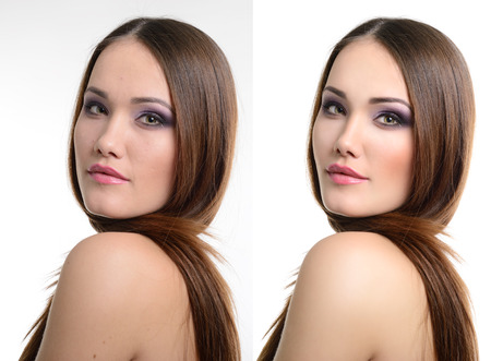 look after: Portrait of beautiful girl before and after retouching. Aging and youth, acne beauty treatment.