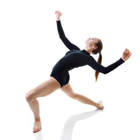 acrobat gymnast: Dancing girl, over white
