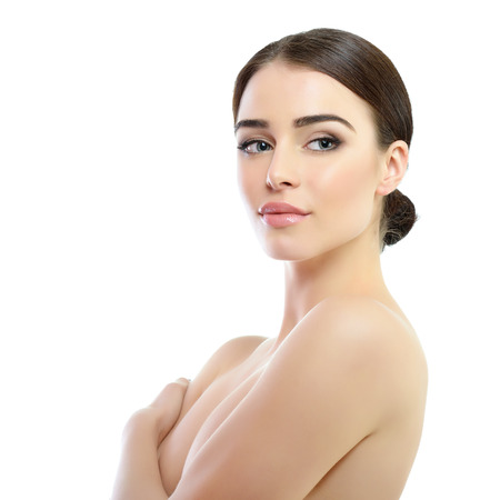 beautiful nude woman: Beauty portrait of young woman with beautiful healthy face, studio shot of attractive girl over white background