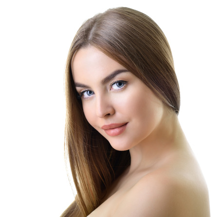 beautiful face woman: Beauty portrait of young woman with beautiful healthy face and long fair hair over white background