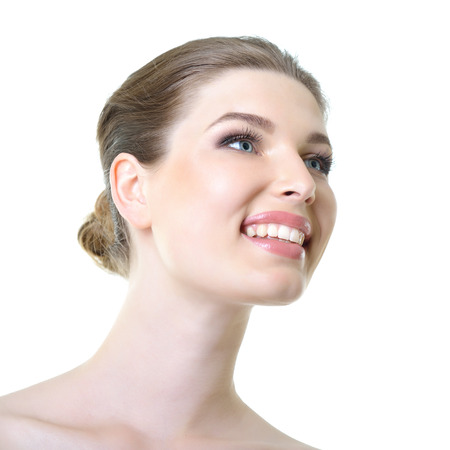 smiling face: Beauty portrait of young smiling woman with beautiful healthy face over white background