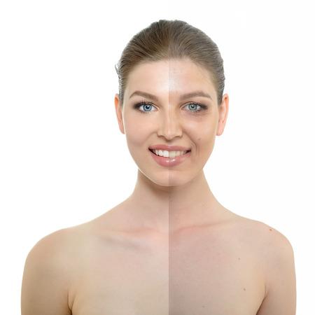 portrait de belle femme avec une peau propre problème et, le vieillissement et le concept de la jeunesse Banque d'images