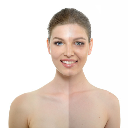 aging skin: portrait of beautiful woman with problem and clean skin, aging and youth concept