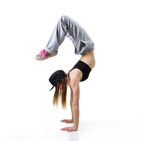 break dancer: Teen girl hip-hop dancer over white background Stock Photo