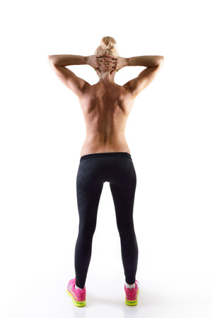 view woman: perfect fit woman, back view Stock Photo