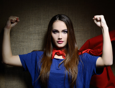 super woman: Young pretty woman in her shirt like a superhero Stock Photo