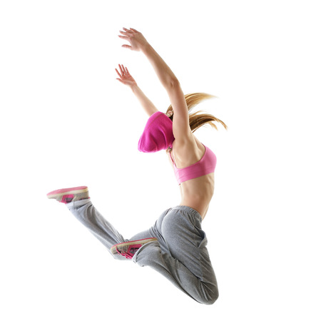 hip hop dance: Jumping teen girl hip-hop dancer over white background