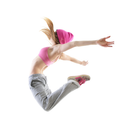 break dancer: Jumping teen girl hip-hop dancer over white background