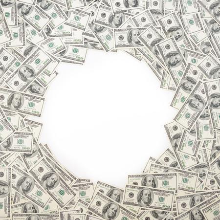 signos de pesos: Fondo con dinero estadounidense Billetes de cien d�lares con copia espacio en el interior. Marco de los billetes en denominaciones de 100 d�lares Foto de archivo