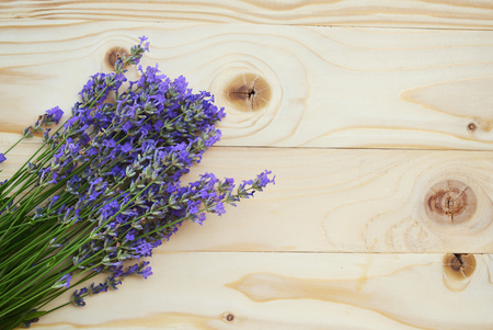 aged: lavender fresh bunch on aged wooden background